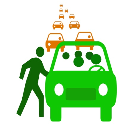 12507420 - green bus with passengers in traffic  carpool illustration