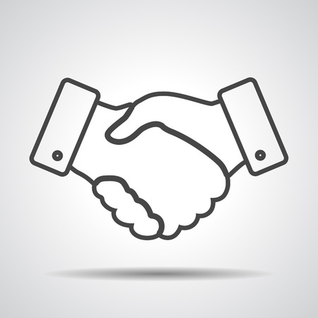 37207616 - handshake thin line design icon - vector illustration
