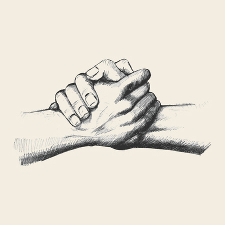39708453 - sketch illustration of two hands holding each other strongly